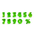 green shiny numbers and percent sign set 3d vector image vector image