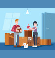 happy cheerful couple man and woman moving house vector image