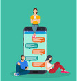 happy people use mobile smartphone vector image vector image