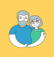 happy seniors hugging holding hands love vector image