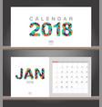 january 2018 calendar desk calendar modern design vector image vector image