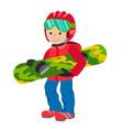 kid child boy with snowboard winter sport jacket vector image vector image
