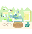 kids room in flat style vector image