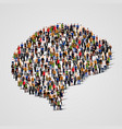 large group of people in the brain sign shape vector image