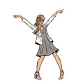 modern woman dancing young girl in a dress disco vector image vector image