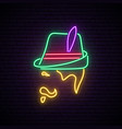 oktoberfest neon signboard man with traditional vector image vector image