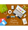 Online shopping concept desktop with computer vector image vector image