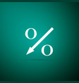 percent down arrow icon on green background vector image vector image