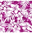 Pink and white tropical flowers silhouettes vector image vector image