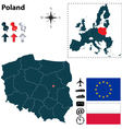 Poland and European Union map vector image
