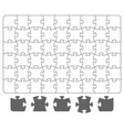 puzzle template and puzzle pieces on white vector image vector image