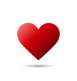 realistic red heart icon with shadow isolated on vector image vector image