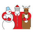 santa snowman and reindeer christmas character vector image vector image