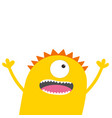 screaming monster head with two eyes hands teeth vector image vector image
