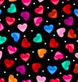 Seamless colorful heart shape pattern over black vector image vector image