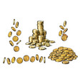 set of gold coins in different positions in sketch vector image vector image