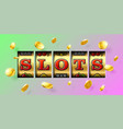 slot machine gambling game casino banner with vector image vector image