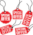 Special offer red tag set vector image vector image