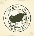 Stamp with map of Hungary vector image vector image