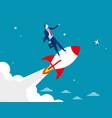 start up businessman standing on rocket ship vector image