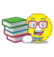 student with book pineapple slice isolated on vector image vector image