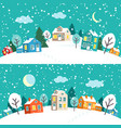 winter christmas town snowy village landscape vector image