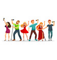 group of young people singing and dancing with vector image