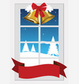 window with christmas decoration vector image