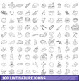 100 live nature icons set outline style vector image vector image