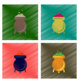 Assembly flat shading style icons cauldron witches vector image