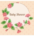 Baby shower with round floral banner vintage pink vector image