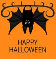 bat hanging happy halloween cute cartoon vector image vector image