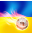 Burning football on Ukraine flag background vector image