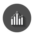 business graph icon chart flat with long shadow vector image vector image