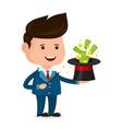 businessman magician a magic wand vector image vector image