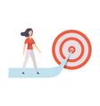 businesswoman walking to arrow to achieve target vector image vector image
