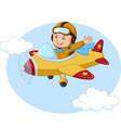 cartoon little boy operating a plane vector image vector image