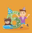 caucasian boy celebrating sixth birthday vector image vector image