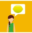 character shopping lemon fruit nature vector image