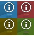 Color set info Flat modern web button with long vector image vector image