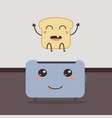 design with bread and toaster character cartoon vector image
