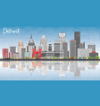 detroit skyline with gray buildings blue sky and vector image vector image