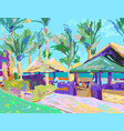 digital painting of summer beach landscape in vector image