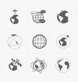 earth icons set on white background vector image vector image