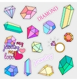 Fashion patch badges Diamonds and jewelry set vector image