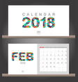 february 2018 calendar desk calendar modern vector image vector image