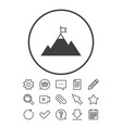 flag on mountain icon leadership motivation sign vector image