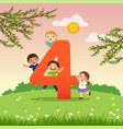 flashcard for learning to counting number 4 vector image vector image