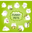 Funny white pets icon on a green background vector image vector image