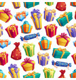 gift boxes or presents with bow seamless pattern vector image